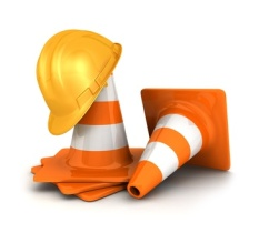 3d traffic cones and a safety helmet